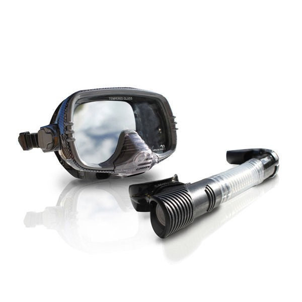 LAND & SEA STEALTH BLACK SILICONE MASK & SNORLEL SET