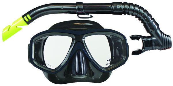 LAND & SEA CLEARWATER BLACK MIRROR SILICONE MASK & SNORKEL SET
