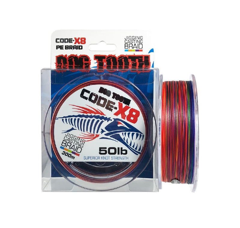 DOG TOOTH CODE-X8 JIGGING CASTING BRAID - MULTI COLOUR