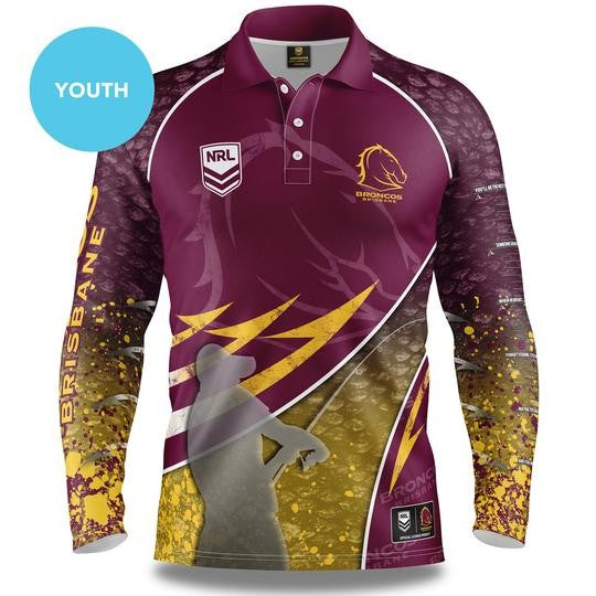 NRL BRONCOS LONG SLEEVED FISHING SHIRT