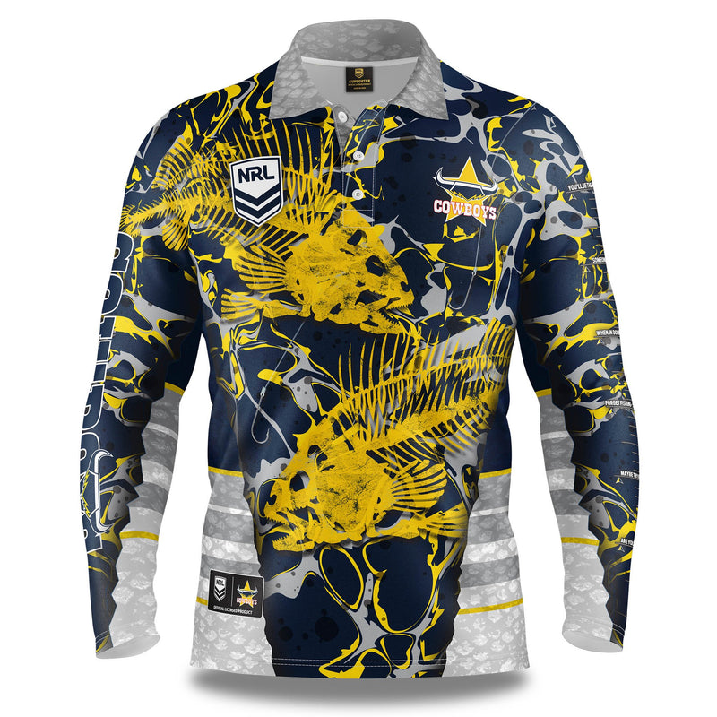 NRL COWBOYS SKELETOR FISHING SUN SHIRT