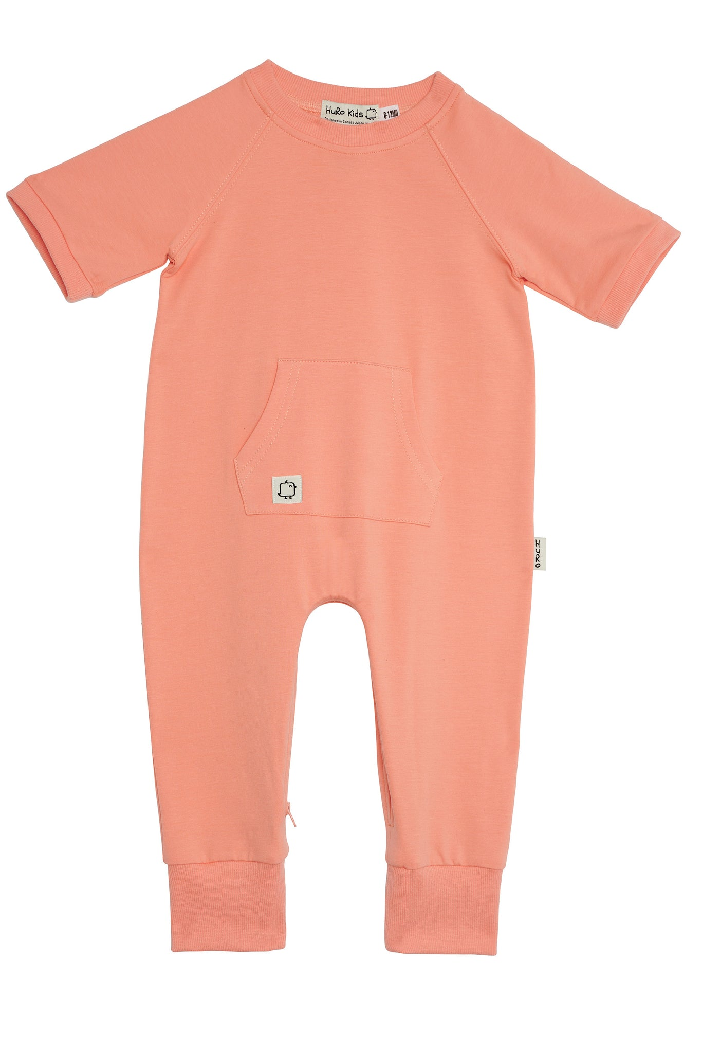 Short Sleeve Romper - Coral (PreOrder/ Ships after April 5th) - HuRo Kids Clothing