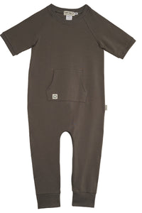 Short Sleeve Romper - Charcoal ( Pre-Order/ Ships after April 5th) - HuRo Kids Clothing