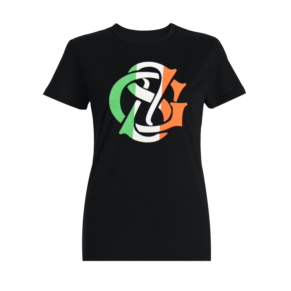Womens Black Irish Flag Tee