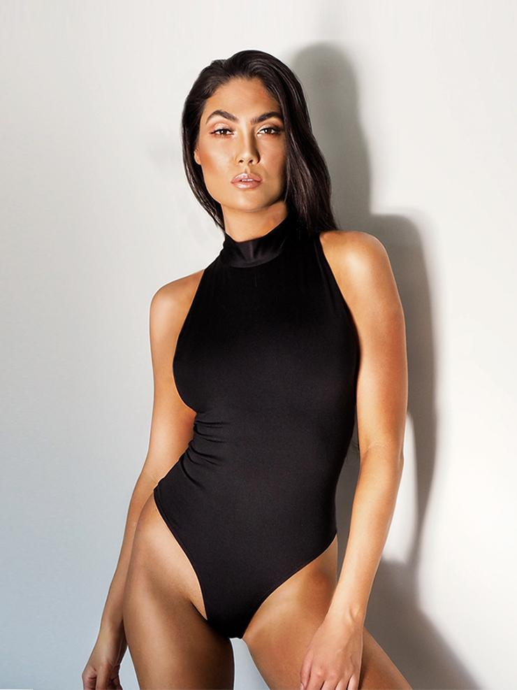 THE HIGH NECK BODYSUIT BLACK - HAUS