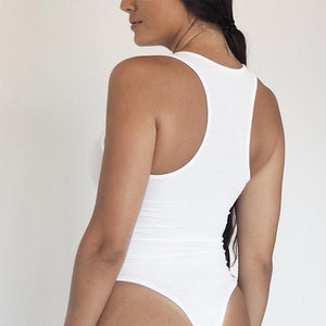 THE RACER BACK BODYSUIT WHITE