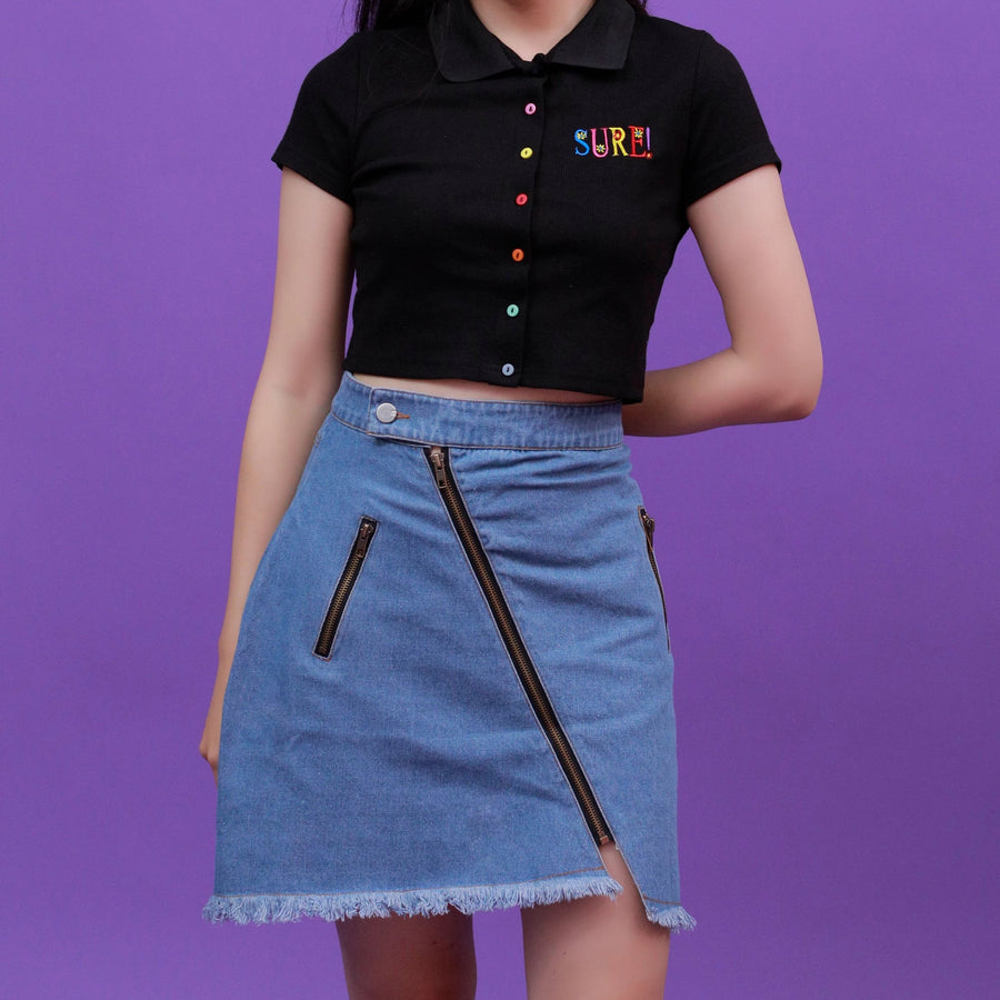 """ZIPPED"" DENIM SKIRT"