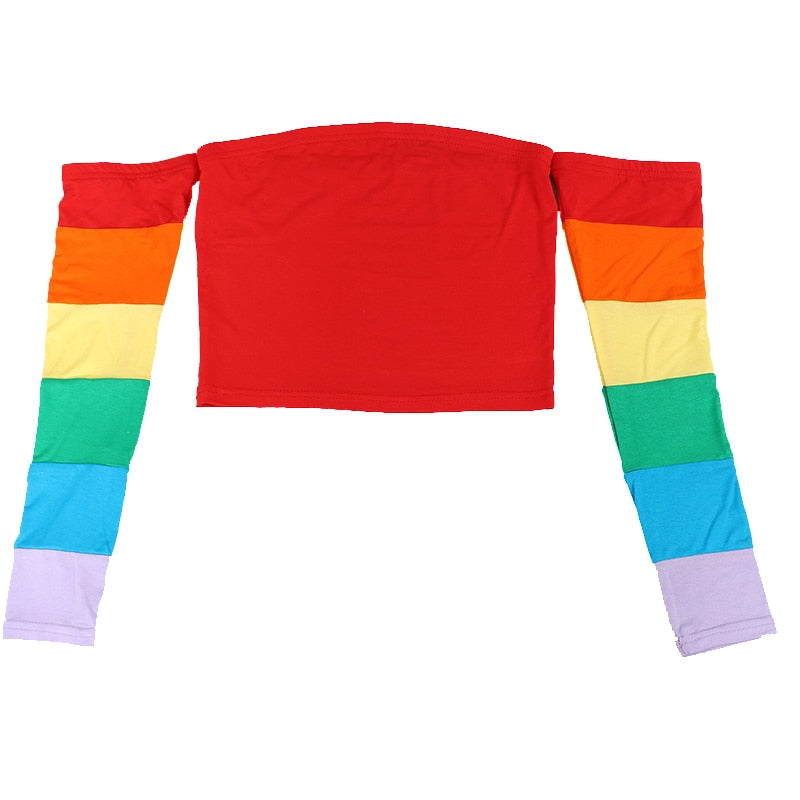 """RAINBOW"" OFF-SHOULDER CROP TOP"