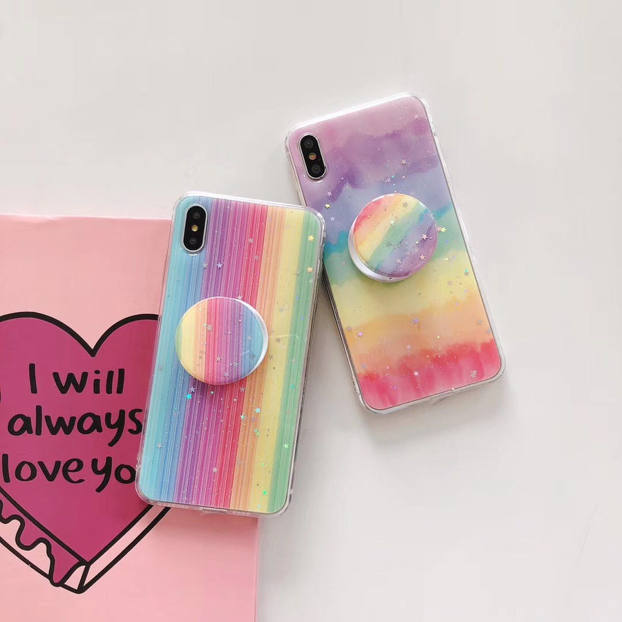 """RAINBOW GLITTER WITH POP SOCKET"" CASES"