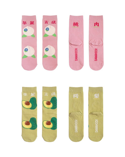 """PEACH + AVOCADO"" SOCKS"