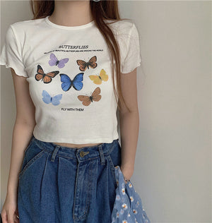 """BEAUTIFUL BUTTERFLIES"" CROP TOP + CARDIGAN"