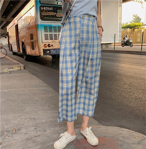 """HIGH-WAISTED PLAID"" PANTS"