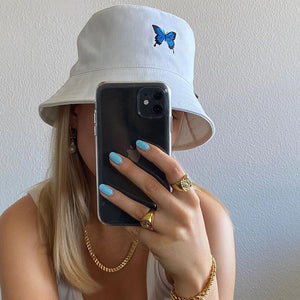 """BLUE BUTTERFLY"" BUCKET HAT"