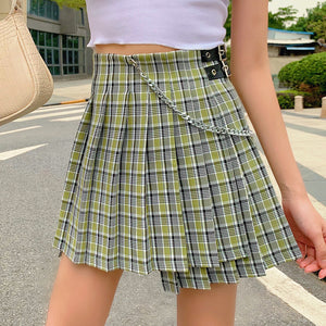 """CHAINED PLAID"" SKIRT"