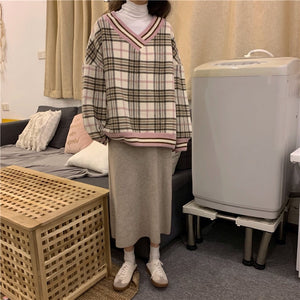 """OVERSIZED PLAID"" V-NECK SWEATSHIRTS"