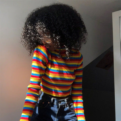 """RED-ORANGE-YELLOW-BLUE"" CROPPED SWEATER"