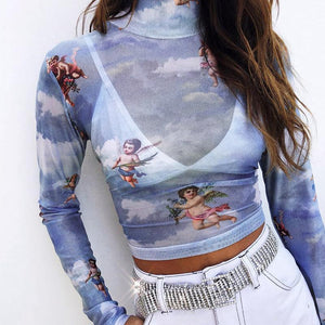 """ANGELIC"" LONG-SLEEVE CROP TOPS"
