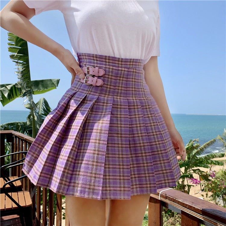 """PURPLE GRID"" SKIRT"