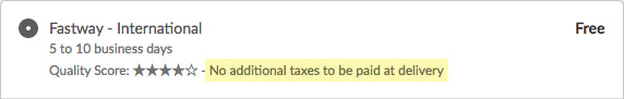 example no tax or duties expected