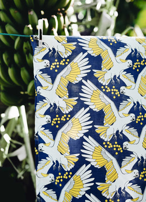tea towel linen cockatoo and wattle