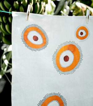 linen tea towel fringed flower
