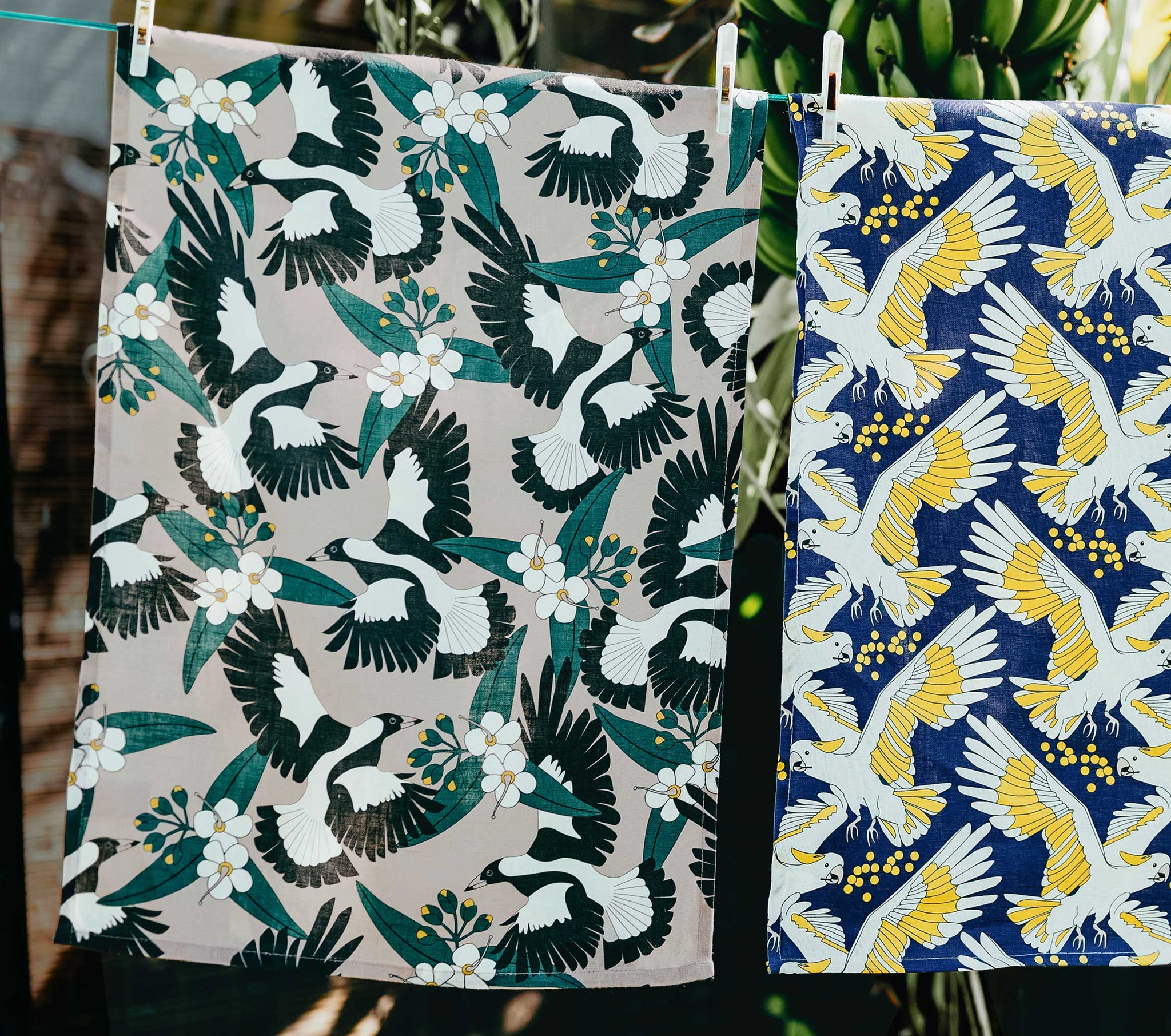 tea towel linen magpie and lemon myrtle