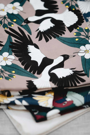 linen tea towel magpie