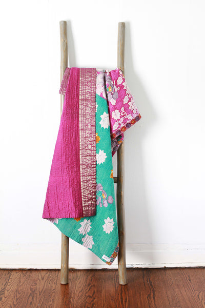Colorful Kantha No. 610 Silk + Cotton