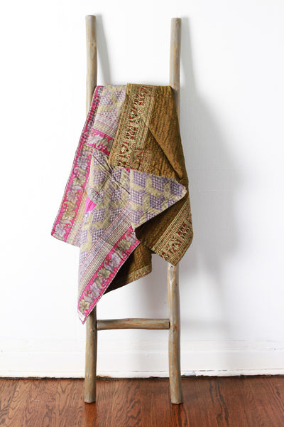 Colorful Kantha No. 611 Silk + Cotton