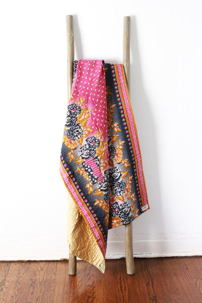 Colorful Kantha No. 612 Silk + Cotton
