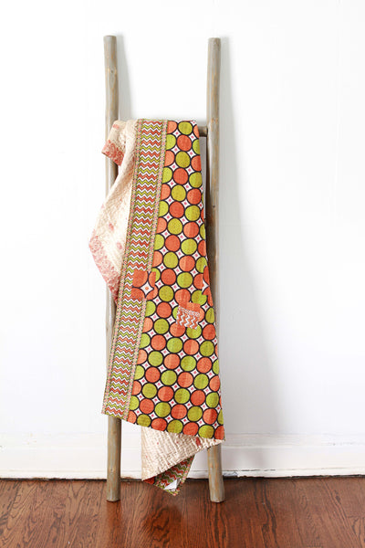 Colorful Kantha No. 614 Silk + Cotton