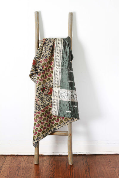 Colorful Kantha No. 615 Silk + Cotton