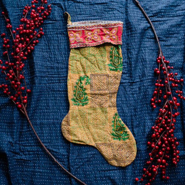 There is a Season | Kantha Stocking No. 15