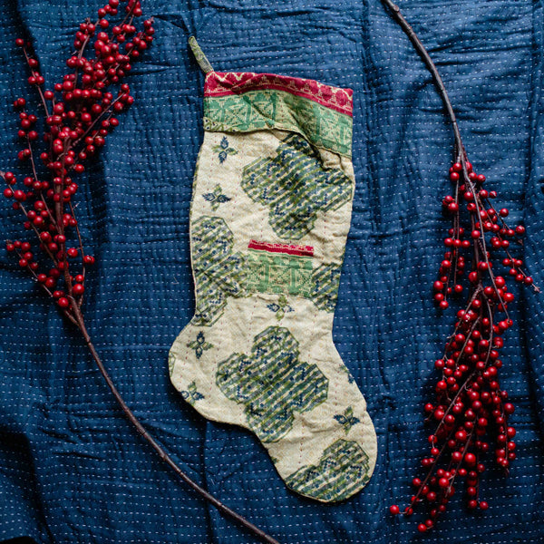 There is a Season | Kantha Stocking No. 18