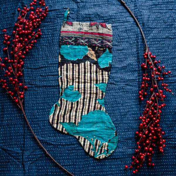 There is a Season | Kantha Stocking No. 29
