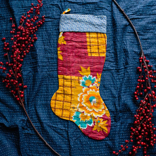 There is a Season Kantha Stocking No. 02