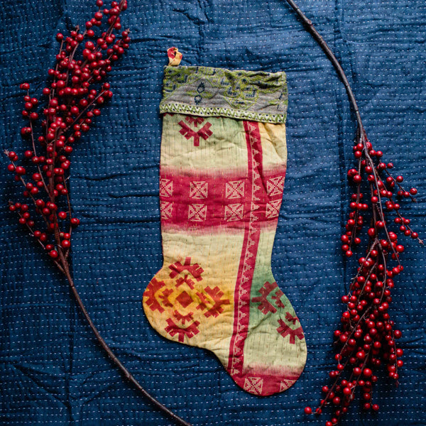 There is a Season | Kantha Stocking No. 36