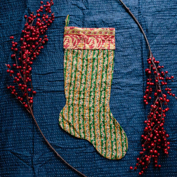 There is a Season | Kantha Stocking No. 39