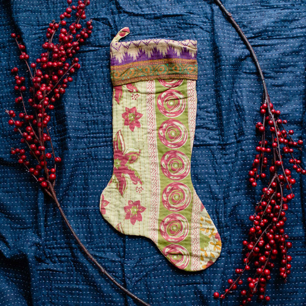 There is a Season | Kantha Stocking No. 03
