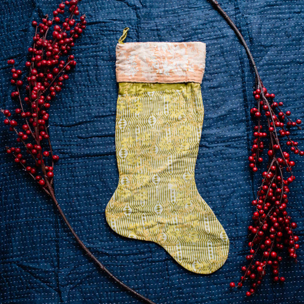 There is a Season | Kantha Stocking No. 42