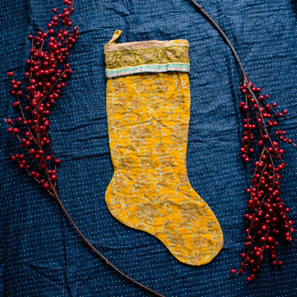 There is a Season | Kantha Stocking No. 43