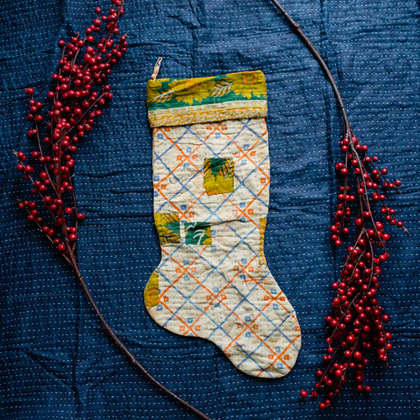 There is a Season | Kantha Stocking No. 46