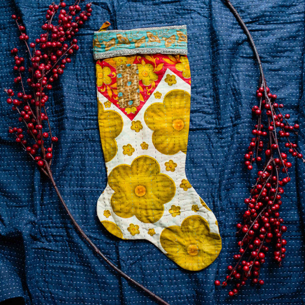 There is a Season | Kantha Stocking No. 04