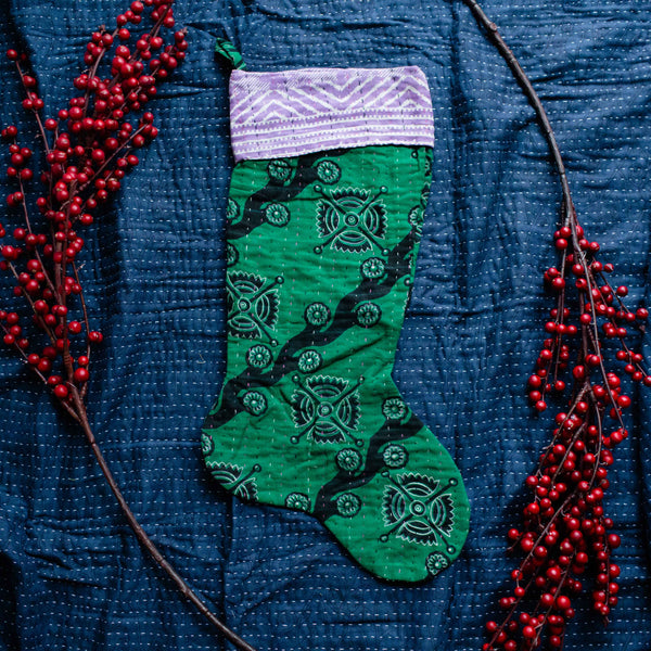 There is a Season | Kantha Stocking No. 08