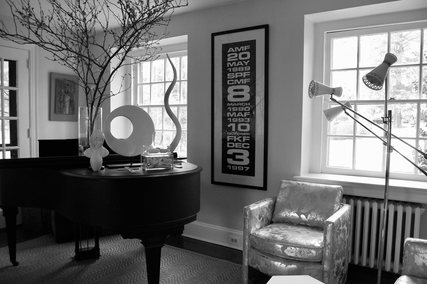 Lifestyle shot of large custom sign in living room