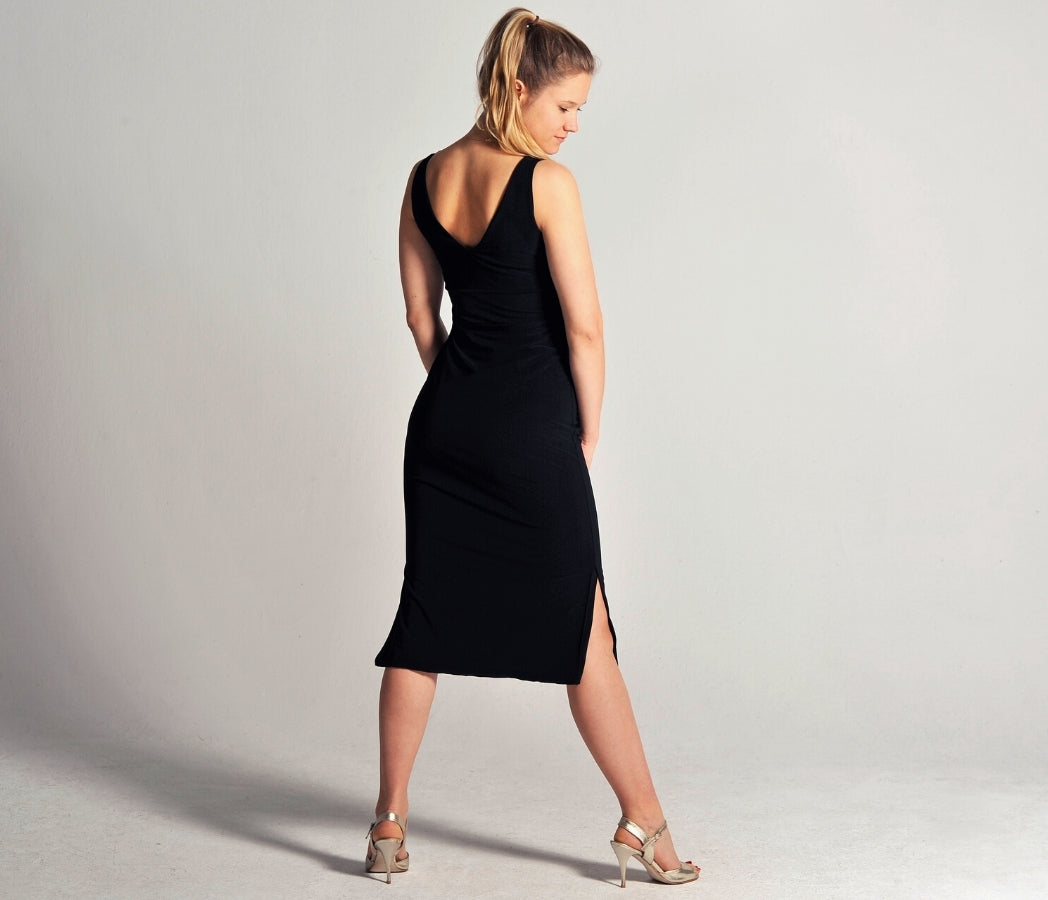 tango dress in black with side slits