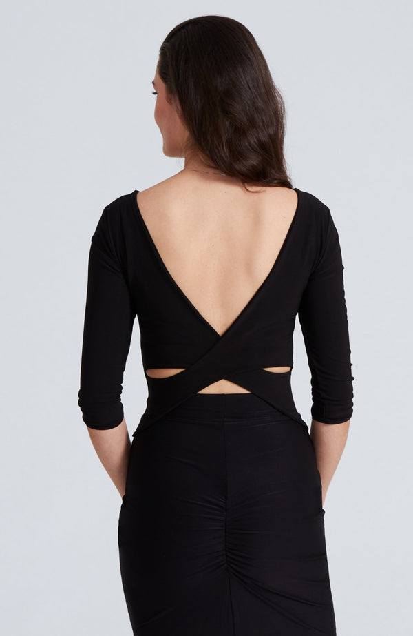 cross back top with sleeves