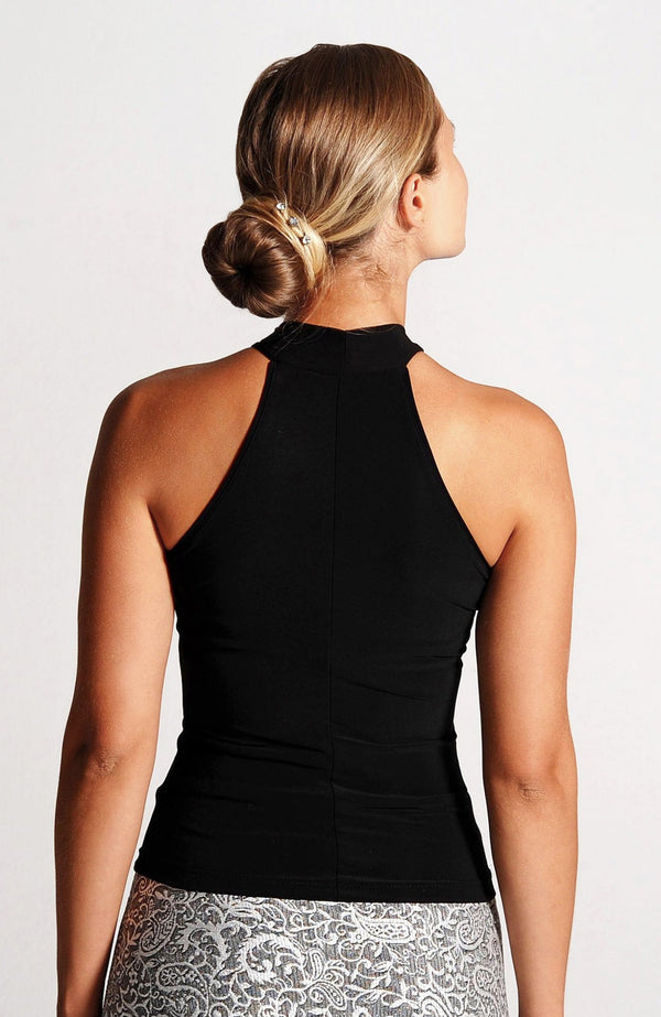 mock neck top in black