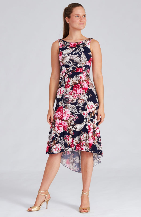 tango dress in red rose print