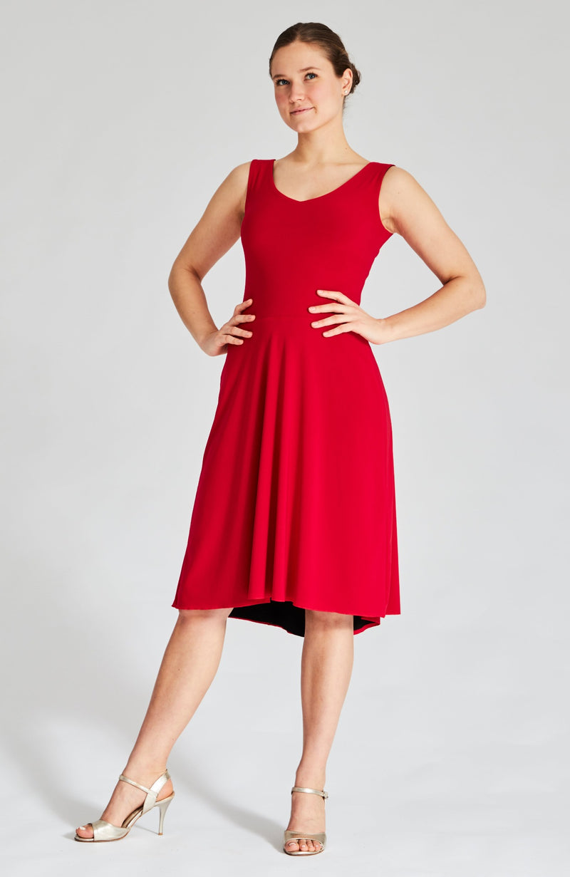 argentine tango dress in red and black